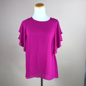 Magenta Ruffle Sleeve Blouse Top #753